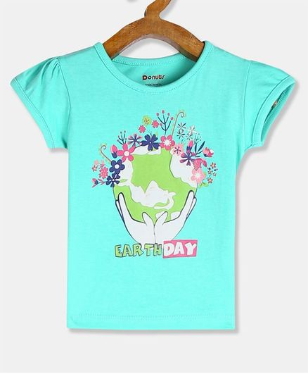 Donut Short Sleeves Floral Print T-Shirt - Aqua Blue