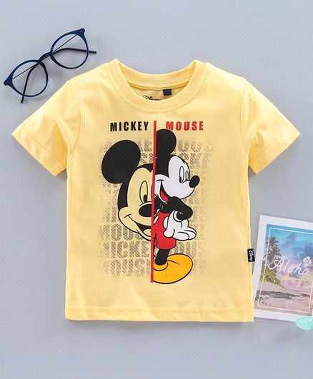 Hoppipola Mickey Mouse Print Half Sleeves Tee - Yellow