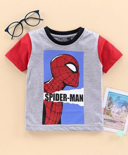 Hoppipola Half Sleeves Spider Man Printed Tee - Red