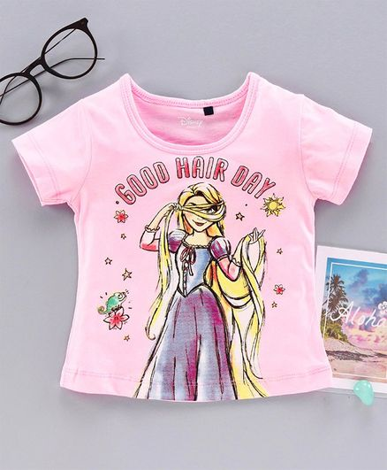 Hoppipola Good Hair Day Print Short Sleeves Tee - Pink