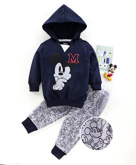 Hoppipola Mickey Mouse Print Full Sleeves Hoodie With Bottom - Blue