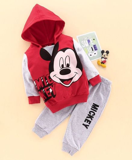 Hoppipola Full Sleeves Mickey Mouse Printed Hoodie & Joggers Set - Red