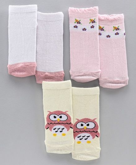 Mustang Ankle Length Socks Set of 3 Pairs - Pink White Off White