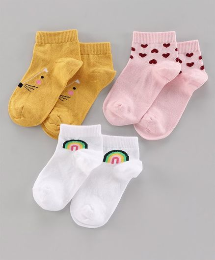 Mustang Ankle Length Socks Set of 3 Pairs - Pink Yellow White