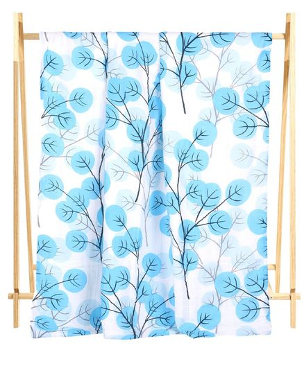 The Mom Store Muslin 6 Layer Cotton Dohar Forest Print - Blue