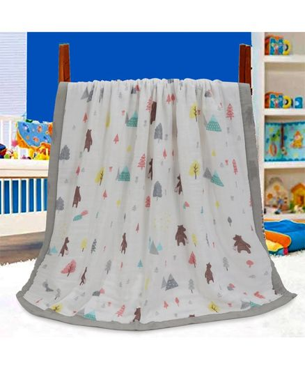 Kassy Pop 6 Layer Bamboo Muslin Wrapper Cum Swaddling Towel Bear Print - White Grey
