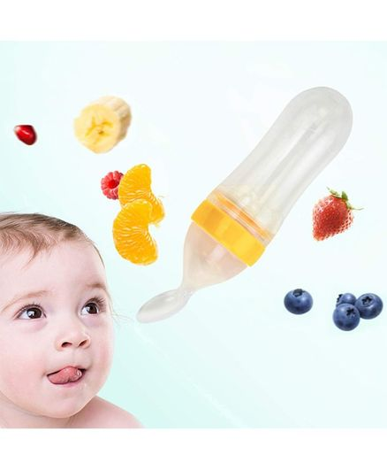 Kassy Pop Silicone Squeeze Baby Feeding Spoon Yellow - 90 ml