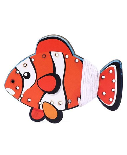 Omocha Wooden  Lacing Toy Fish Shaped - Orange
