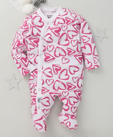 ROYAL BRATS Full Sleeves Hearts Printed Footed Romper - Pink