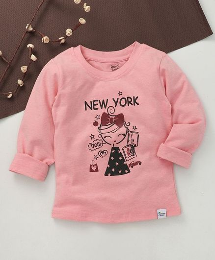 ROYAL BRATS Full Sleeves New York Girl Print T-Shirt - Pink