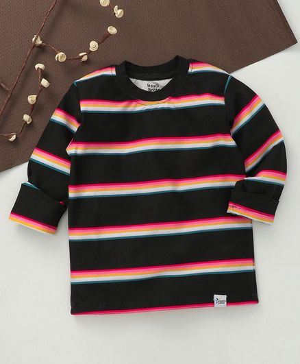 ROYAL BRATS Full Sleeves Striped T-Shirt - Black