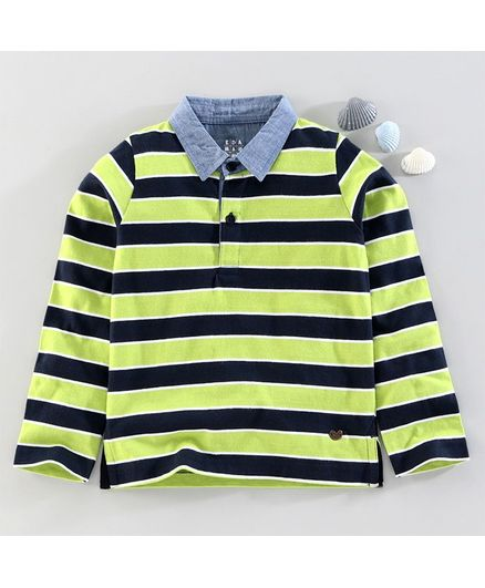 Ed-A-Mamma Full Sleeves Striped Tee With Chambray Collar - Green