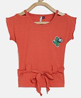 Actuel Short Sleeves Cactus Patch Detailing Top - Orange