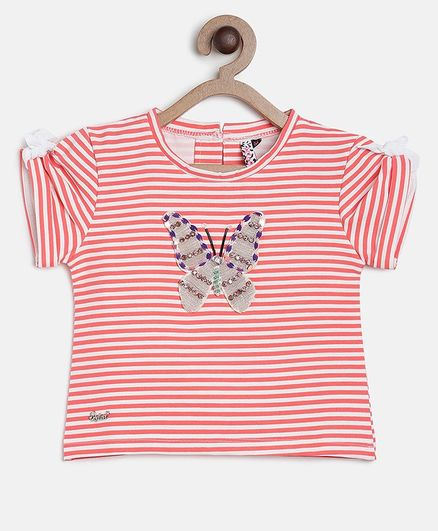 Actuel Half Sleeves Striped Butterfly Detailing Top - Pink & White