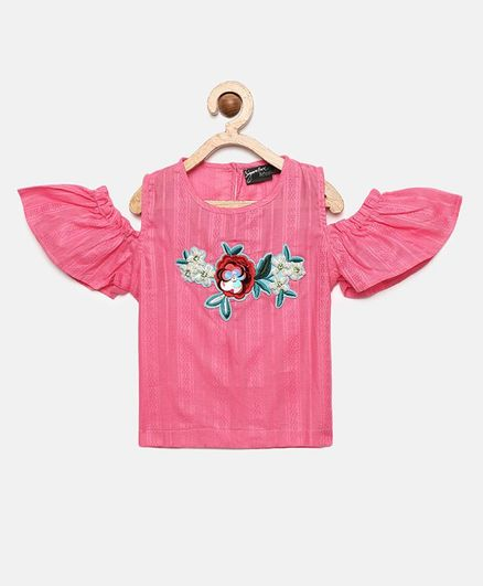 Actuel Half Sleeves Flower Embellished Top - Pink