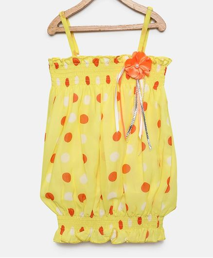 Actuel Sleeveless Polka Dotted Top - Peach