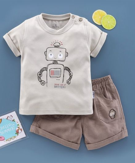 Child World Half Sleeves T-Shirt & Shorts Set Robot Print - Beige