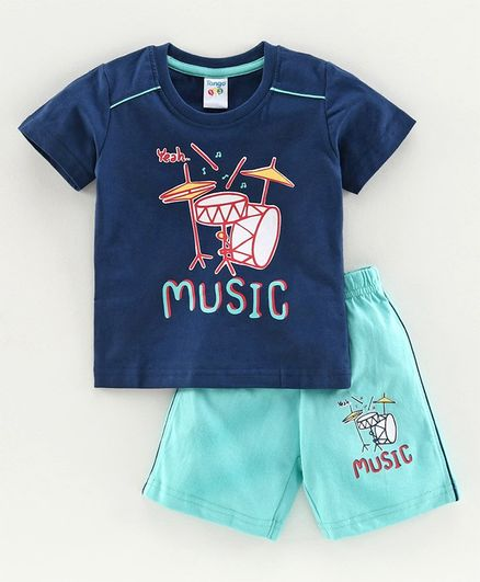 Summer Shorts Toddler Pajama Organic Cotton Clothes for Boys Blue and Light Green ONLY 6-9 months or 12-18 months