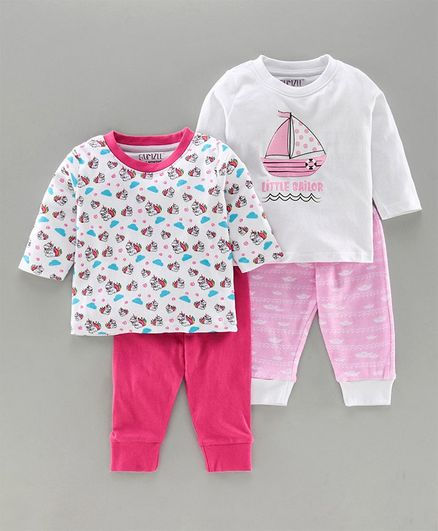 Bumzee Pack Of 2 Pair Of Full Sleeves Boat Printed Tee & Joggers Set - Pink & White