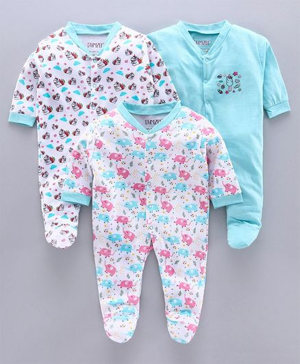 Bumzee Full Sleeves Pack Of 3 Animal Print Sleep Suits - Blue