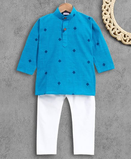 Ridokidz Full Sleeves Self Striped Kurta With Pajama - Blue