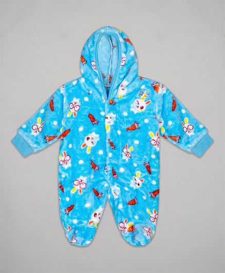 The Sandbox Clothing Co Full Sleeves All Over Bunny Printed Hooded Romper - Light Blue
