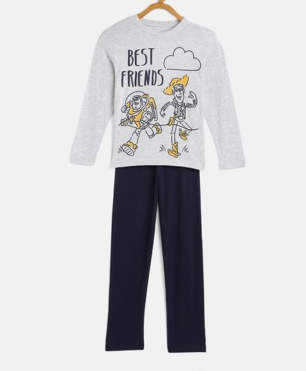 LOOCUST Full Sleeves Toy Story Print Tee With Pajama - Grey