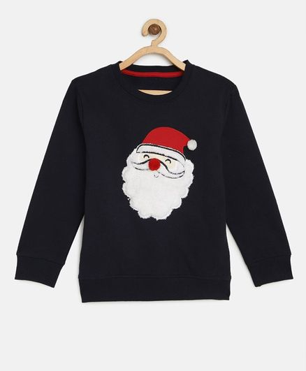 LOOCUST Santa Embroidered Full Sleeves Sweatshirt - Navy Blue