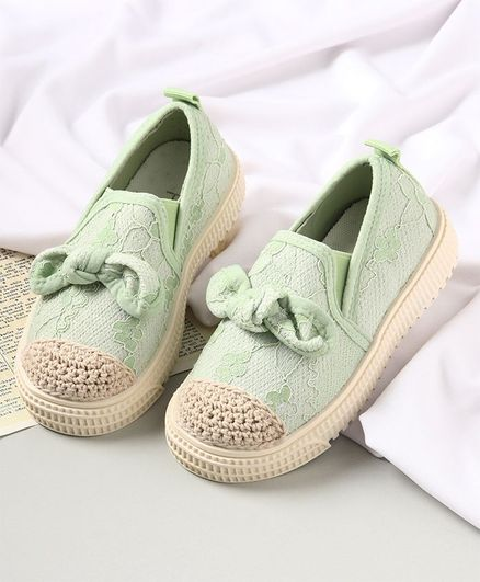 KIDLINGSS Bow Applique Slip-On Shoes - Green