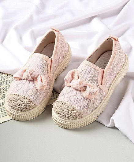 KIDLINGSS Bow Applique Slip-On Shoes - Pink