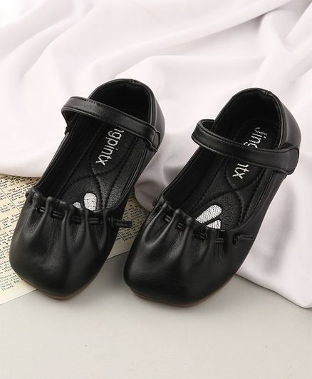KIDLINGSS Solid Colour Velcro Closure Mary Jane - Black