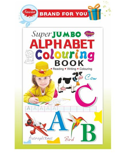 Sawan Super Jumbo Alphabet Colouring Book (Reading, Writing, Colouring) - English