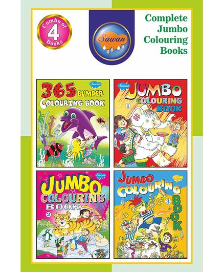 Sawan Complet Jumbo Colouring Book Pack of 4 - English