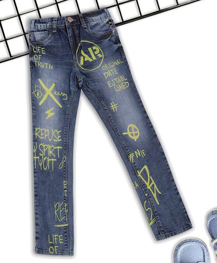 Sodacan Printed Full Length Jeans - Blue