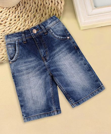 Sodacan Solid Denim Shorts - Blue