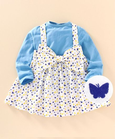 Go Bees Full Sleeves Top With Butterfly Print Bow Embellished Suspender Skirt - White & Blue
