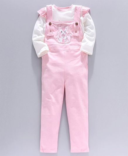 Go Bees Full Sleeves Top With Cat Patch Dungaree - Baby Pink & White