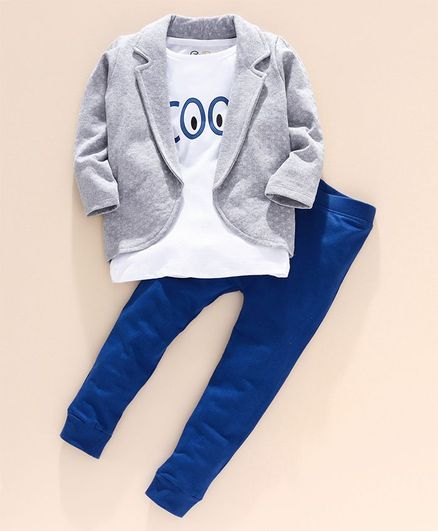 Go Bees Full Sleeves Fleece Jacket With Cool Print Tee & Pants - White Blue Grey
