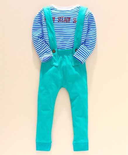 Go Bees Full Sleeves Striped Tee With Dungaree - Green & Blue