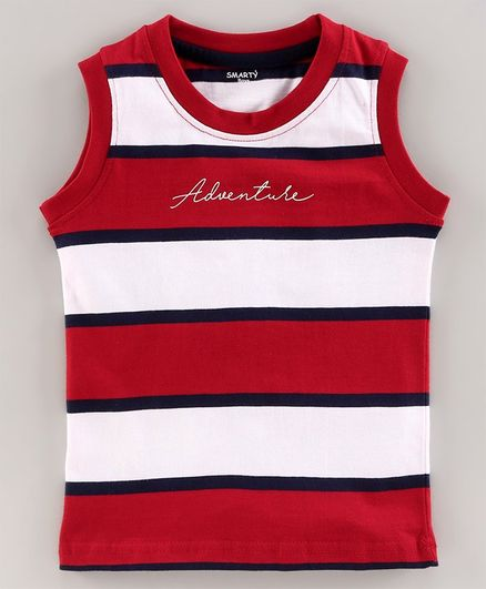 Smarty Sleeveless T-Shirt Striped - Red