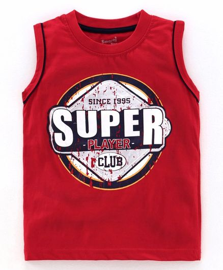 Smarty Sleeveless T-Shirt Super Print - Red