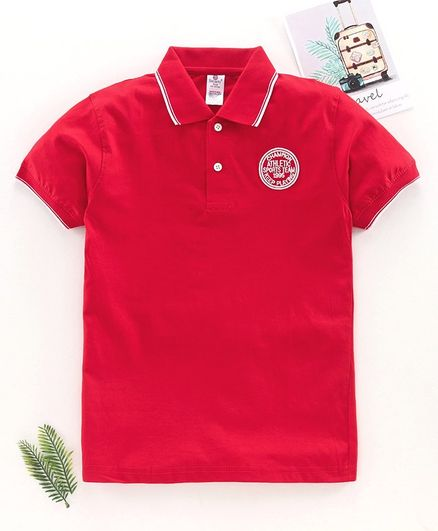 Smarty Half Sleeves Polo T-Shirt - Red