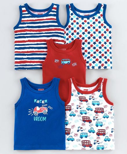 Babyhug Sleeveless Vest Multi Print Pack of 5 - Multicolor