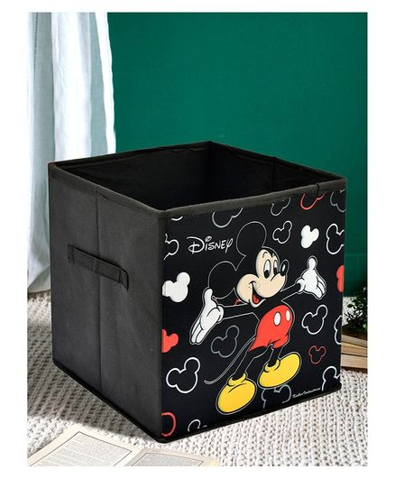 Fun Homes Disney Mickey Non Woven Fabric Foldable Large Storage Cube - Black