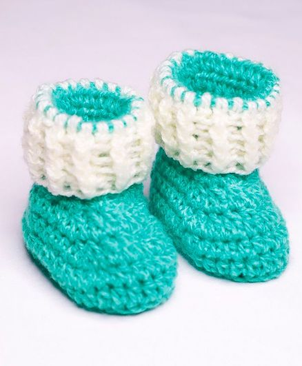 Knits & Knots Color Block Cuffed Booties - Green & Cream