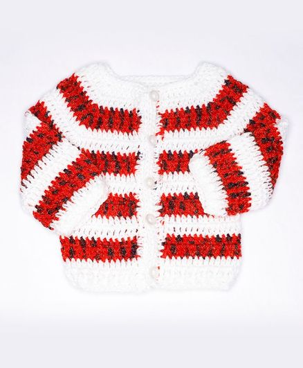 Knits & Knots Full Sleeves Striped Sweater - Red White