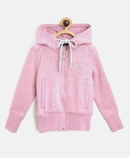 Alcis Full Sleeves Solid Hooded Jacket - Pink