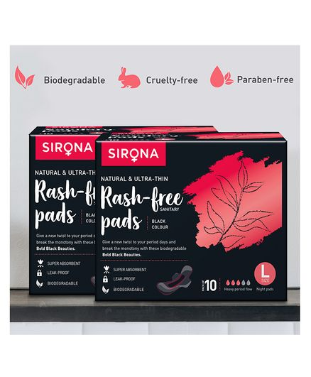 Sirona Large Biodegradable Super Soft Maternity & Sanitary Pads Pack of 2 - 10 Pads Each