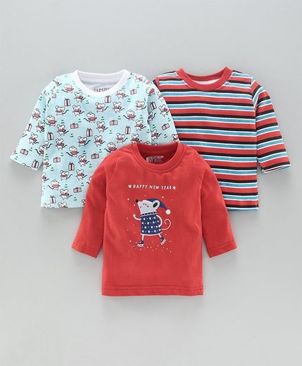 Bumzee Full Sleeves Pack Of 3 Striped & Bear Print Tee - Red