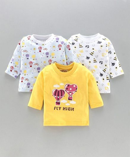 Bumzee Full Sleeves Pack Of 3 Hot Air Balloon Print Tee - Yellow Blue